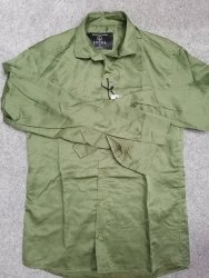 Low Range Mens Green Plain Shirt