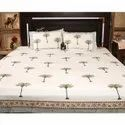 King Size 100% Premium Cotton Hand Block Print Bedsheet With 2 Pillow Cases.
