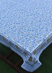 Blue Cotton Hand Block Printed Tablecloth, Size: 170x270 Centimeters