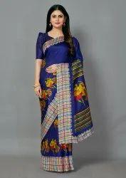 Bollywood Design Navy Blue Color Printed Khadi Silk Saree