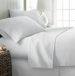 Hotel White Satin Bed Sheet