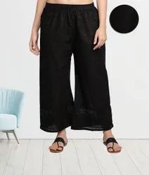 Black Fabclub Cotton Chikan Free Size Women Palazzo