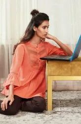 Janasya Women's Peach Cotton Flex Top (J0205)