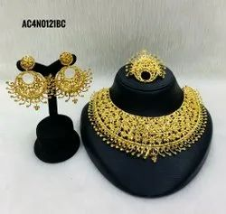 Indian Bollywood Traditional Gold Plated Wedding Bridal Necklace Earrings Jewelry set