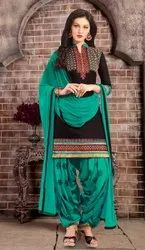 Casual Wear Cotton Embroidery Salwar Suit(G19-Turquoise)