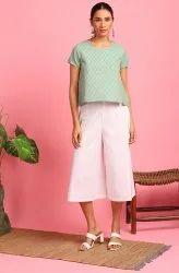 Janasya Women's Light Green Cotton Top (JNE3743)