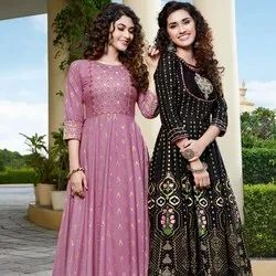 Heavy Rayon Fancy Embroidery with Foil Print Kurti