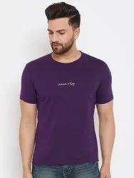 HARBORNBAY Men Purple Printed Round Neck T-shirt