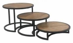 Round Wooden Top Risers With Metal Stand For Buffet Display