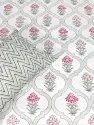 Palm Tree Cotton White Base Block Print Double Bed Sheet With Pillow Cover
