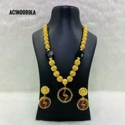Necklace Earrings Wedding Bridal Jewelry Set Indian gold jewellery with floral design
