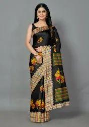 Beautiful Black Color Designer Printed Khadi Silk Saree