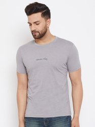 Harbornbay Men Grey Printed Round Neck T-shirt