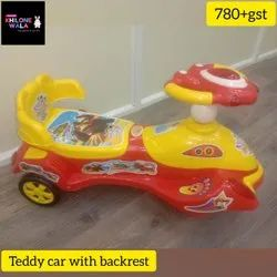 Yellow And Red Plastic Teddy Car, No. Of Wheel: 3