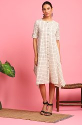 Janasya Women's Cream Cotton Flex Western Dress (JNE3706)