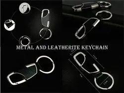 Metal and leatherite keychain