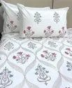 Mugal Butta Cotton White Base Block Print Double Bed Sheet With Pillow Cover