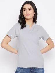 HARBORNBAY Women Grey Pockets T-shirt