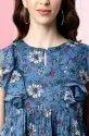 Janasya Women's Blue Poly Georgette Top (J0342)