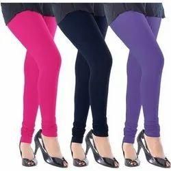 Blue Mid Waist Ladies Leggings, Casual Wear, Skin Fit