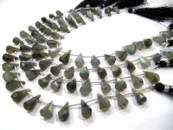Natural multi stone  Briolette Faceted Teardrop 6x10mm to 9x15mm Beads Sold per Strand 8 inches long