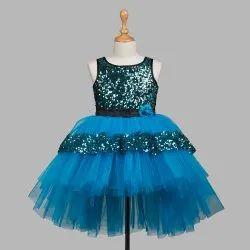 Satin And Net TBJN21-13SB Toy Balloon Kids Girls Sky Blue Dress, For Party Wear, Heavy