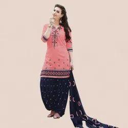 Casual Wear Cotton Embroidery Patiala Salwar Suit(G16-Orange)
