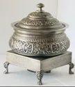 Smokey Silver Embossed Hyatta Handi with Heritage Chowki