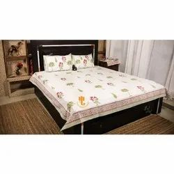 King Size Handblock Print Premium Percale 100% Cotton Fabric Bedsheets With 2 Pillow Cases.
