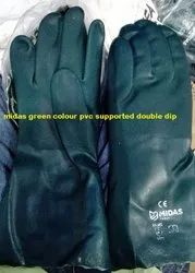 Green Midass Double Dipped PVC Supported Hand Gloves 14