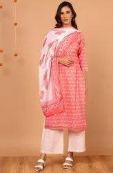 Janasya Women's Pink Cotton Kurta With Palazzo And Dupatta(SET280)