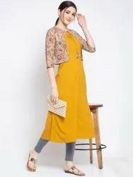 Women Printed Crepe Jacket Kurta(Yellow)