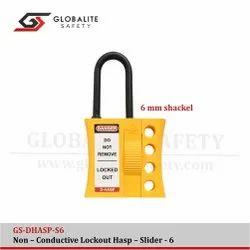 Yellow Nylon Di-Electric Lockout Hasp - Slider - 06, Electrical Purpose