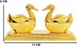 Double Swan Golden Metal Kumkum Box Pair With Loving Bird Duck Pair