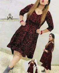 Red Designer Sequin Western Dress