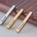 Four Sides Engraving Personalized Square Bar Name Necklace