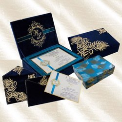 Blue MDF Box Wedding Cards, 2 Leaflet
