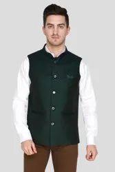 Dark Green,Black Men Plain Waistcoat