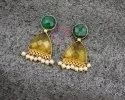 Dyed Emerald Citrine Quartz Gemstone Stud Earring Set