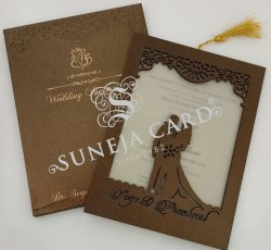 Laser Cutting Brown Mdf Screen/Foil Printed Wedding Card Invitation Card