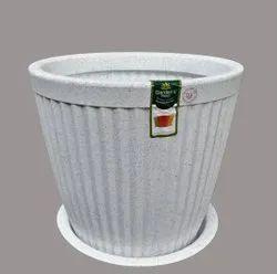White Paris Round Pot With Tray