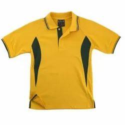Summer Cotton Yellow Green School Tshirt, Size: M