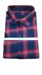 Checked Blue, Maroon Mens Casual Cotton Check Shirt, Size: 40
