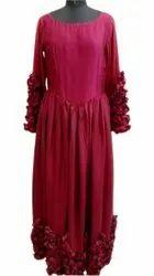 Wedding Wear Plain Ladies Maroon Rayon Gown
