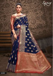 Fancy top dyed silk saree