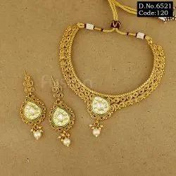 Fusion Arts Antique Kundan Necklace Set