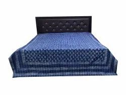 Blue Indgigo Dabu Block Kantha Bed Cover