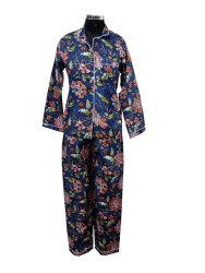 Neavy Blue Cotton Printed Suit With White Piping