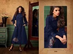 Casual Wear Regular HEAVY COTTON KURTI EMBROIDERY LONG KURTI, Wash Care: Handwash