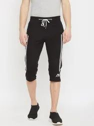 Casual Mens Black Cotton Capri